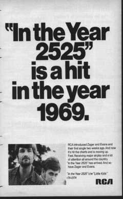 """In the Year 2525"" is a hit in the year 1969"
